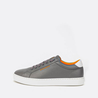 Minimalist grey sneakers.