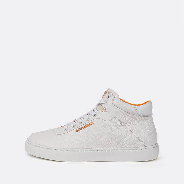 Minimalist white high top sneakers.