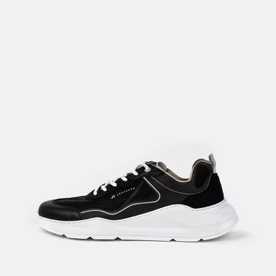 Black runner sneakers.