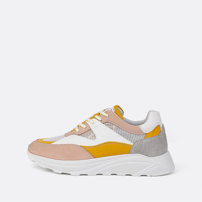 Multicolor runner sneakers in pink, yellow, grey and white tones.