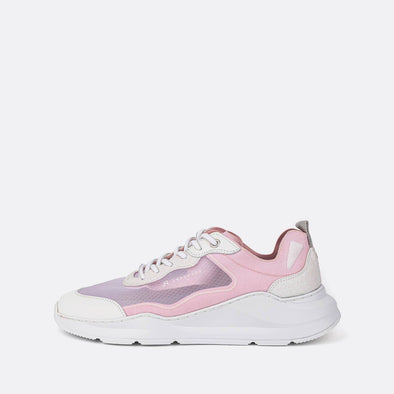 Multicolor runner sneakers in pink and white tones.