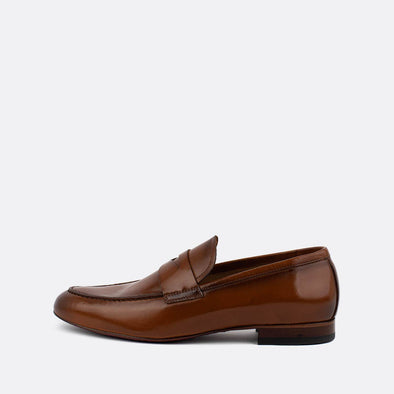 Brown leather loafers.
