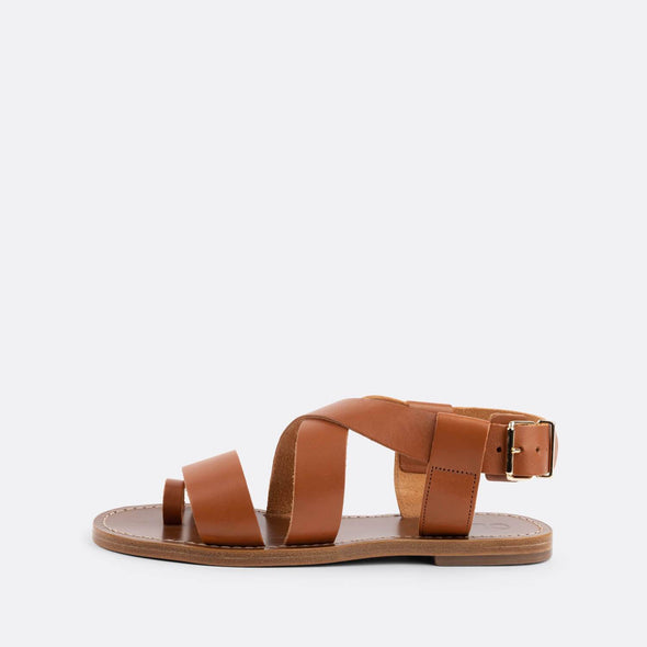 Brown leather crossover strap flat sandals with toe loop.