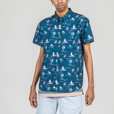 Blue short sleeved shirt with exclusive ocean themed all-over print.