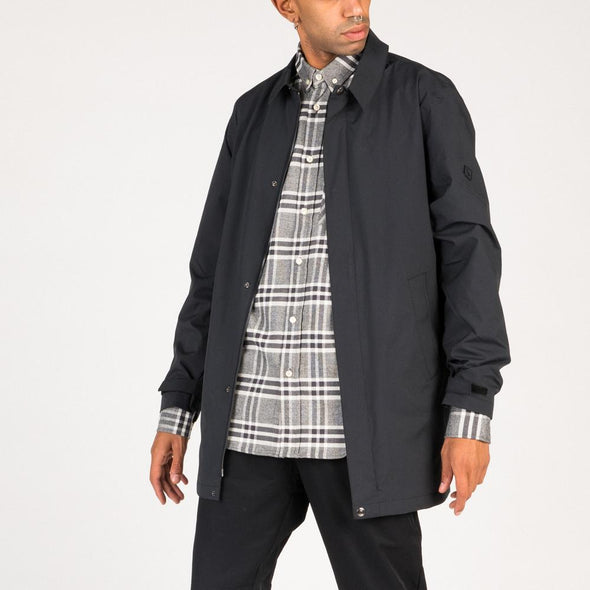 Faded black jacket with two side pockets and inner wallet pocket.