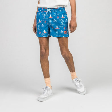 Blue swim shorts with exclusive ocean themed all-over print.
