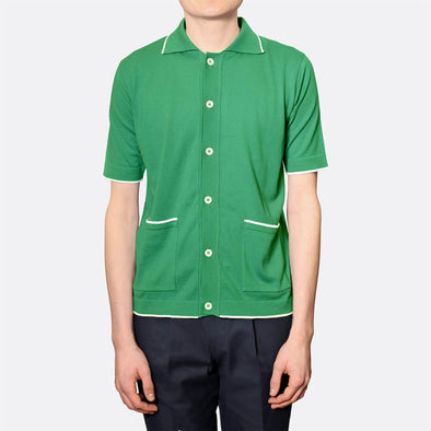 Green super soft mid-weight polo with a six-button placket.