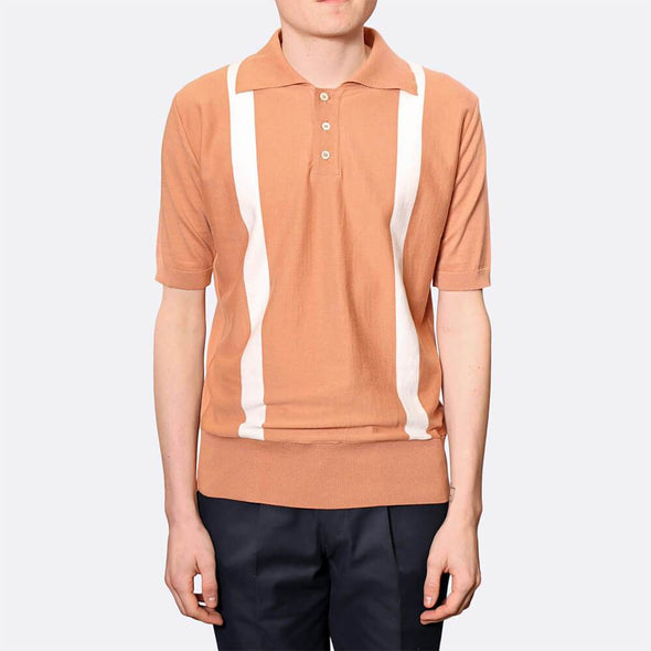 Rust lightweight polo with ribbed cuffs, hem and collar.