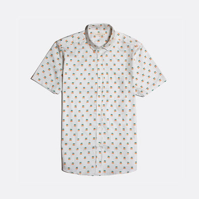 White short sleeved casual button down shirt with oranges all-over print.
