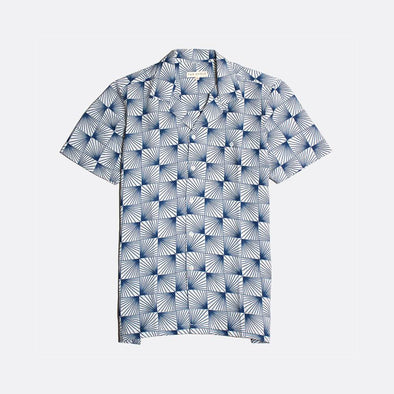 White short sleeved bowling shirt with navy blue sun rays all-over print.