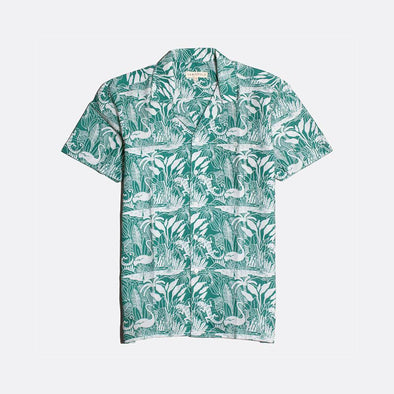 White short sleeved bowling shirt with a green all-over print.