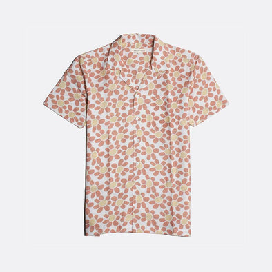White short sleeved bowling shirt with flower all-over print.