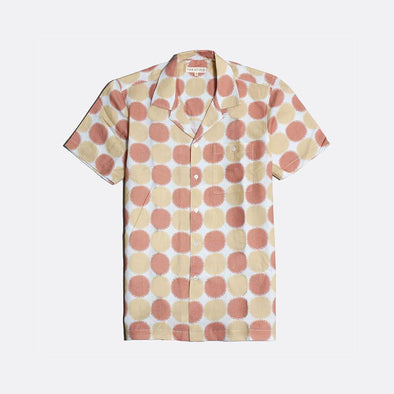 White short sleeved bowling shirt with beige and rust all-over print.