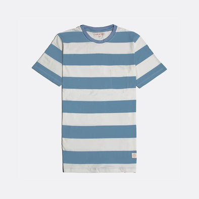 White and blue striped short sleeved crew neck t-shirt.