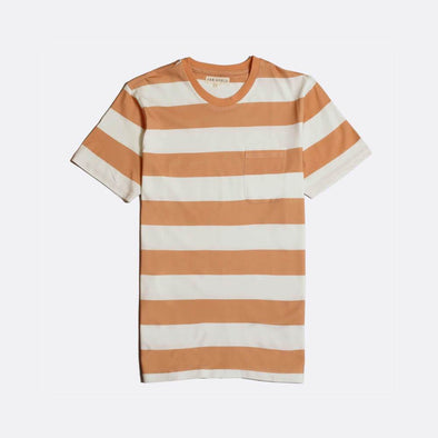 White and orange striped short sleeved crew neck t-shirt.