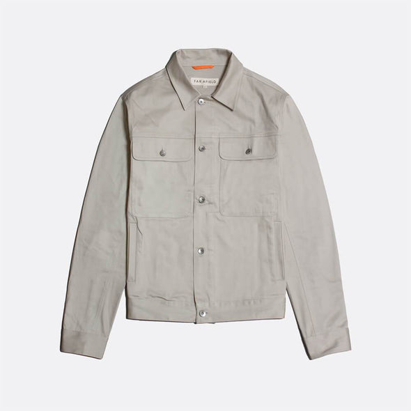 Light grey classic trucker jacket with a classic colla and two large chest pockets.