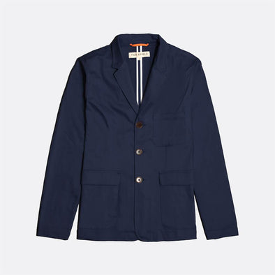 Navy blue casual workwear-inspired blazer with corozo buttons.