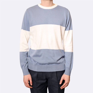 Long sleeved lightweight crewneck knit with blue and white stripes.