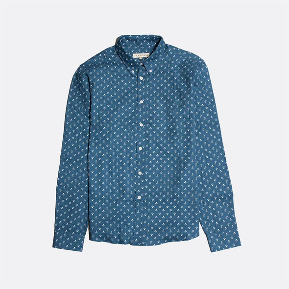Navy blue long sleeved shirt with a chambray floral all-over print.
