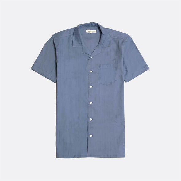 Blue short sleeved bowling shirt with mother of pearl buttons.