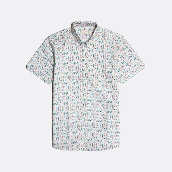 White short sleeved shirt with hippies all-over print.