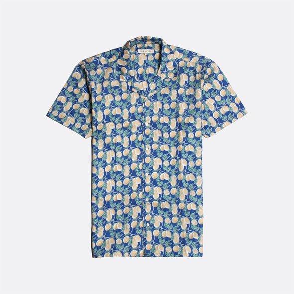 Navy blue short sleeved bowling shirt with lemonade all-over print.