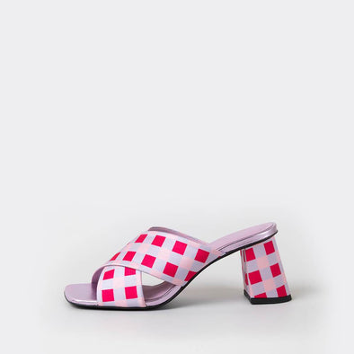 Square toe heeled open mules in multicoloured plaid satin fabric.