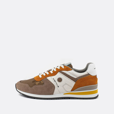 Multicolor khaki, yellow and orange sneakers in suede with ruber sole.