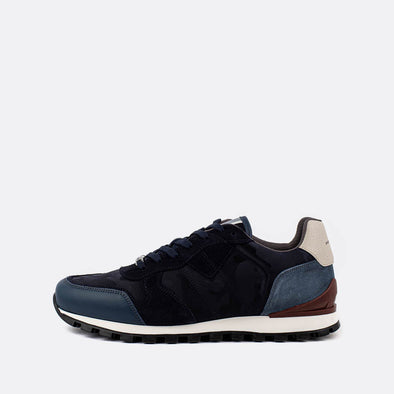Multicolor navy blue, white and grey sneakers in suede with ruber sole.