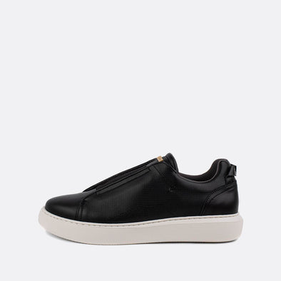 Black leather slip-on sneakers.
