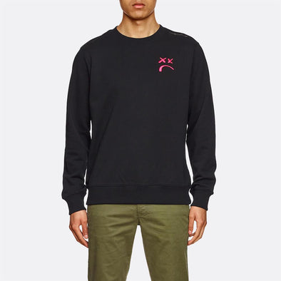 Black sweatshirt with a red embroidery on the left side.