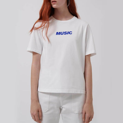 "Regular fit white t-shirt with ""Music"" print detail on the front."