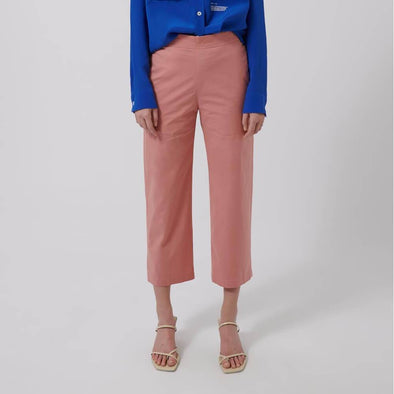 Rose regular fit poplin trousers with elastic waist and side pockets.