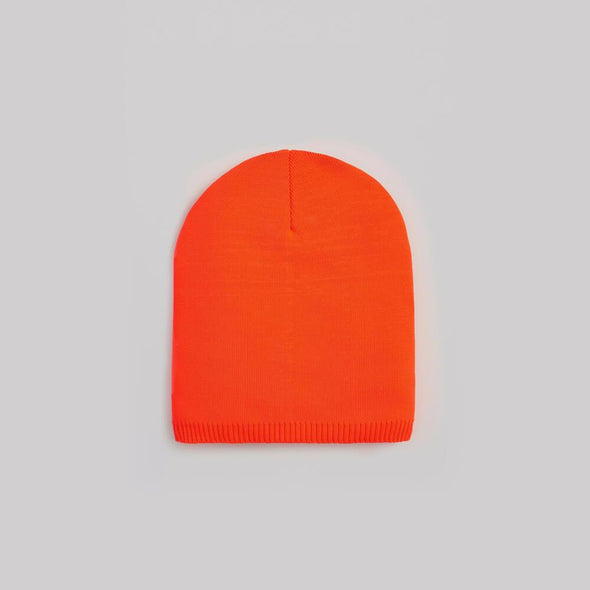 Unisex orange polyester beanie.