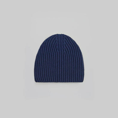 Unisex navy blue ribbed beanie.