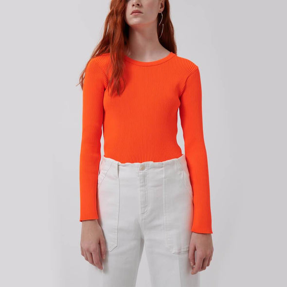 Slim fit neon orange knit sweater with ribbed collar.