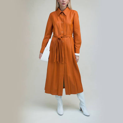 Vintage inspired midi pleated shirt dress in rich orange.
