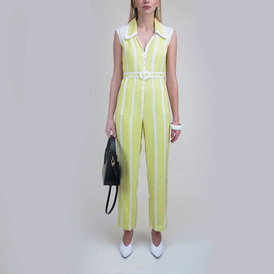 Lime green and white boxy fit sleeveless jumpsuit with waist belt.