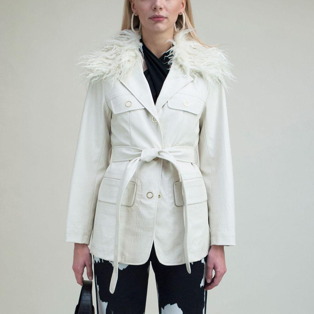 White croc effect vegan leather jacket with detachable faux fur collar and belt detail.
