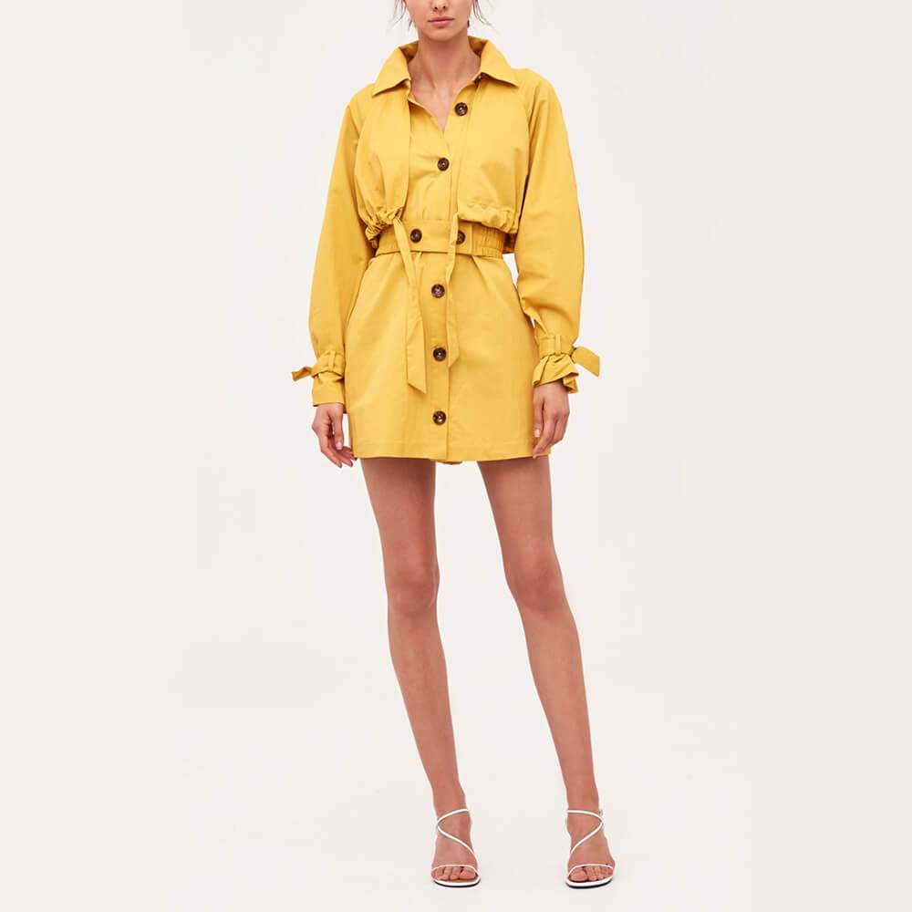 Yellow relaxed fit mini dress with detachable elasticated belt.