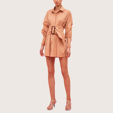 Nude fit and flare oversized mini dress with dropped shoulders.