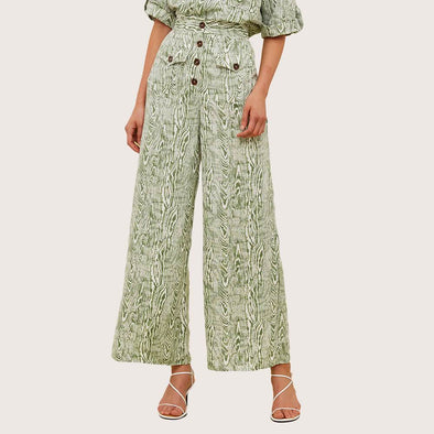 High waisted green patterned wide leg trousers with front patch pockets.