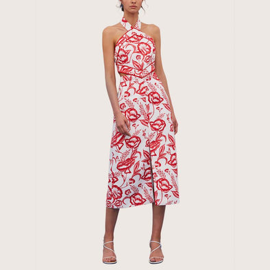 Fitted midi dress in a white and red botanic pattern.