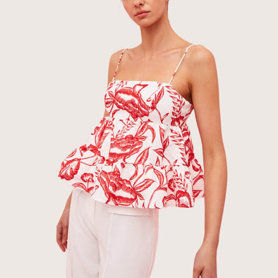White and red botanic patterned top featuring rouleau straps with adjusters.