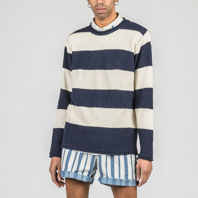 Navy blue and white striped waffle knit.
