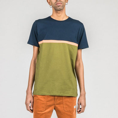 Khaki and navy blue t-shirt with orange stripe.