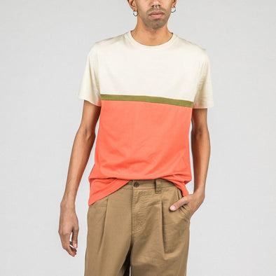 Sand and coral t-shirt with khaki stripe.
