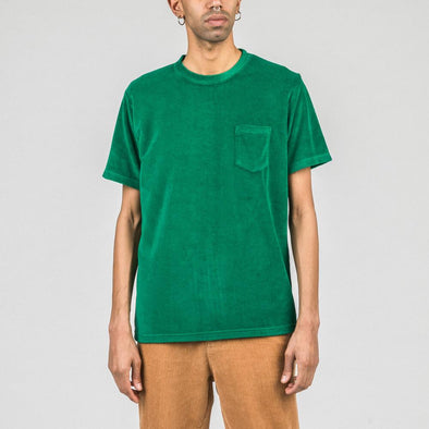 Green t-shirt in terry fabric.