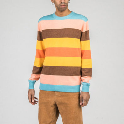 Longsleeved knit with multicolored stripes.