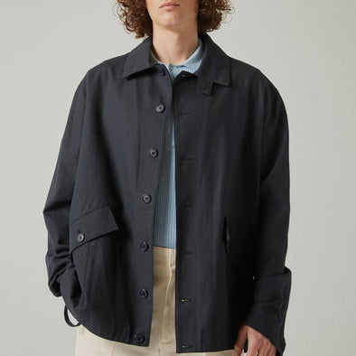 Navy blue cotton jacket.